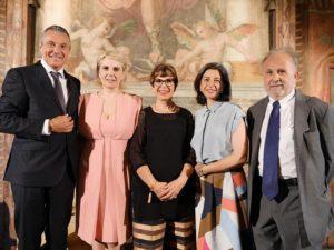 Jean Christophe Babin (CEO Bvlgari), Edith Gabrielli (Direttrice Polo museale del Lazio, Mibac), Chiara Ottaviano (Cliomedia Officina), Lucia Boscaini (Head Brand Heritage Bvlagari), Franco Benigno (Scuoa Normale Superiore di Pisa)